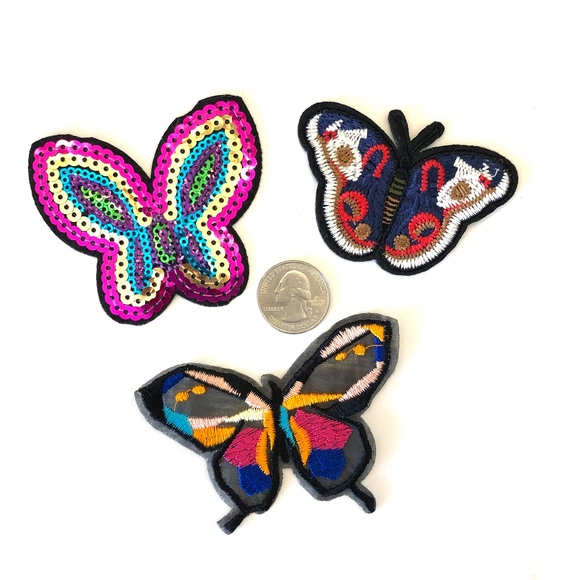 fd3f2aab251fd Butterfly patches iron on applique patch DIY set 3 Boutique